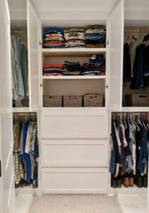 Custom Closet with Built-In Dresser and Adjustable Shelves